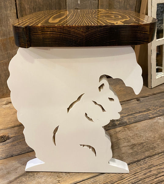 White Squirrel Step Stool for a Child - Locally Hand-Crafted