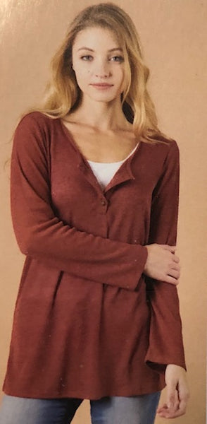Clothing - Light-weight Henley-style Tunic/Top with Lace Across the Back