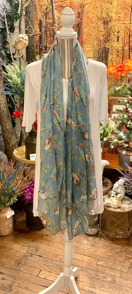 Clothing Accessory - Viscose Long Scarf with Bird Design