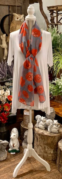 Clothing Accessory - Viscose Long Scarf with Poppy Design
