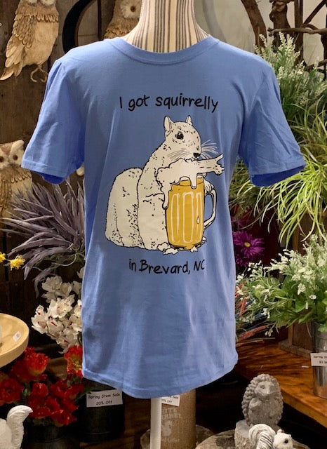 "T-Shirt - For Adults - ""I Got Squirrelly in Brevard, NC"" - White Squirrel Drinking Beer"