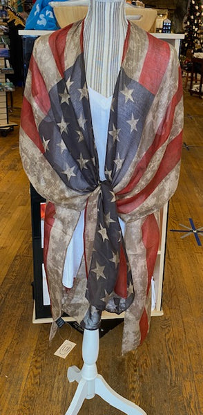 Clothing - Kimono - Vintage Inspired American Flag Design -Sheer