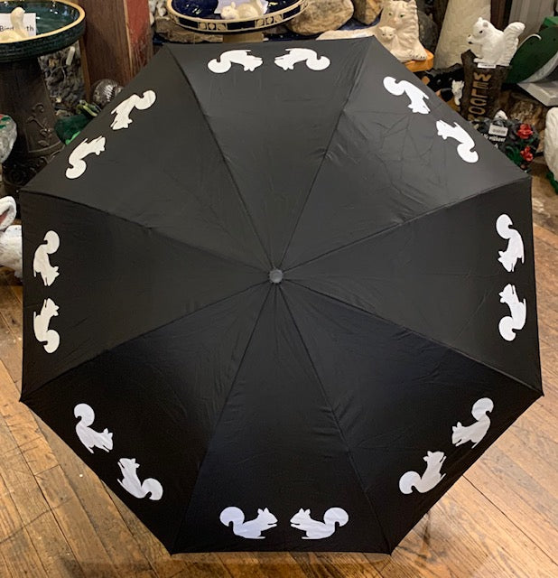 Umbrella - Inverted Style - Black with White Squirrels