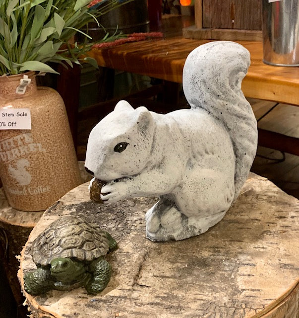 Garden Statuary - Concrete White Squirrel - Medium Size - White Finish