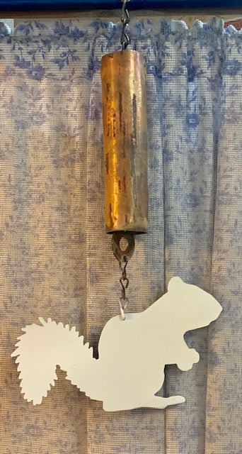 Windchime - White Metal Squirrel with Copper Chime