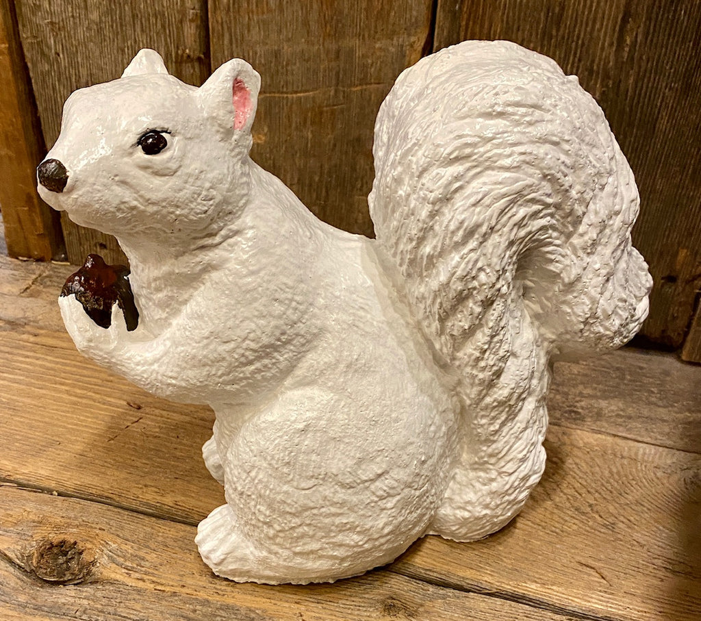 Garden Statuary - White Squirrel Holding a Nut