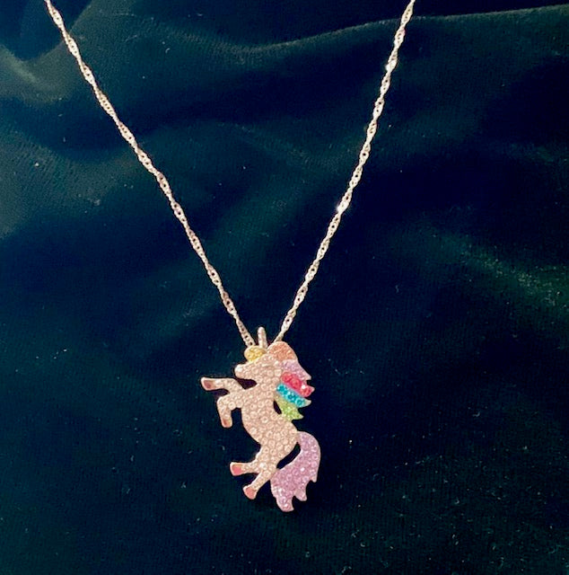 Jewelry - Unicorn Pendant with Clear & Colored Crystals