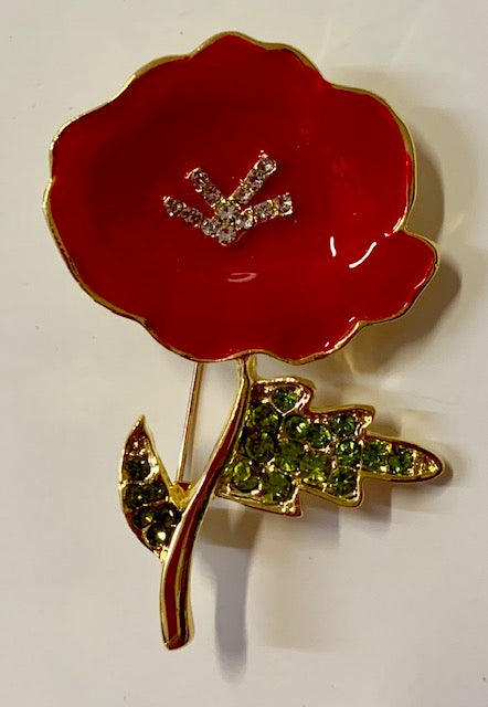 Jewelry - Red Poppy with 4 Crystal Centers