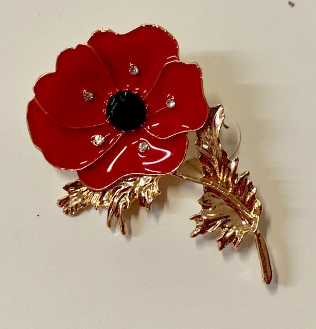 Jewelry - Red Enameled Poppy Brooch with 5 center crystals