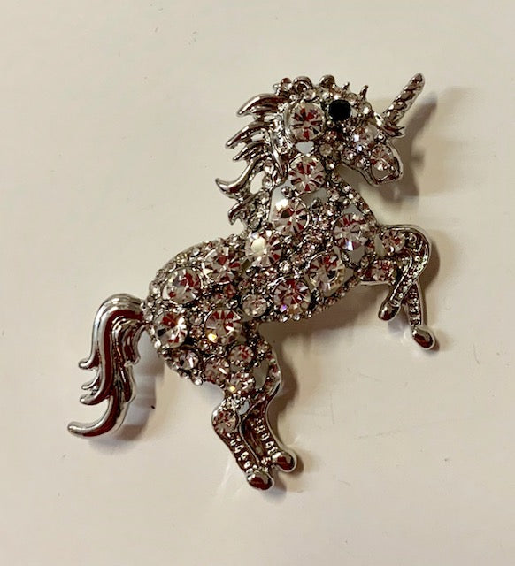 Jewelry - Crystal Unicorn - Silver Unicorn Studded with Clear Crystals