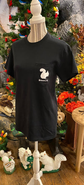 t-shirt - For Adults - Black Short Sleeve Crew Neck with Front Pocket Embellished with our White Squirrel Logo