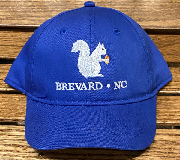 Baseball Hat- Youth with Embroidered White Squirrel with Brevard, NC #