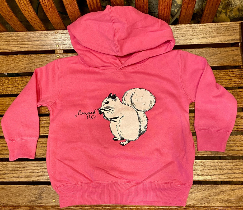 Hoodie - For Toddlers - White Squirrel Hoodie for Toddlers in Raspberry Pink