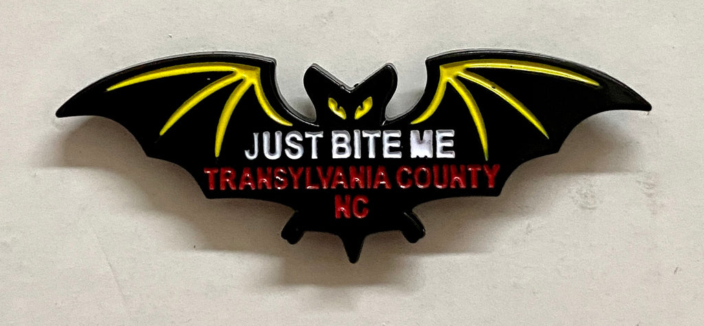 "Hat/Lapel Pin - Black Bat with ""Just Bite Me, Transylvania County, NC"""