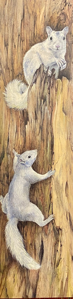 Original Painting - White Squirrels on a Slice of Tree by Lori Vogel