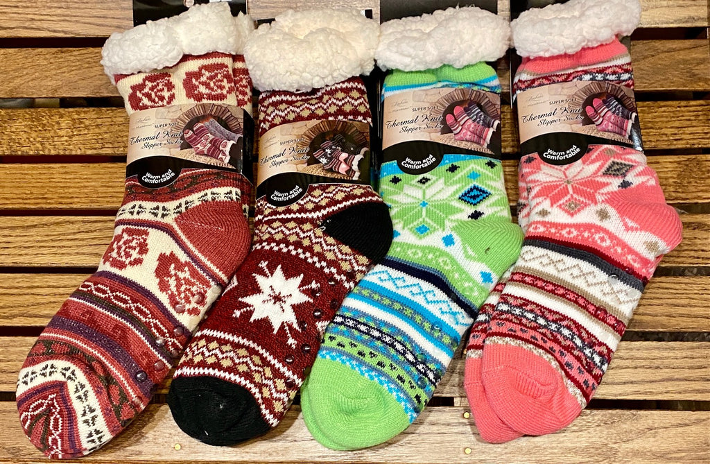 Slipper Socks for Adults - Fleece-Lined......Gripper Bottoms