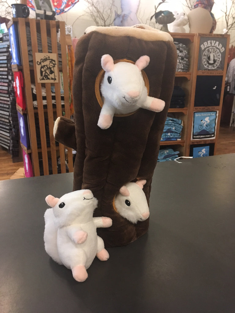 Stuffed Dog Toy - Log with three white squirrels #