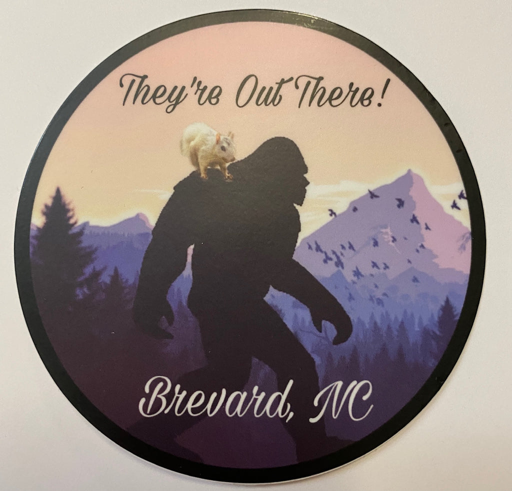"White Squirrel Decal/Sticker - Vinyl - Sasquatch & White Squirrel ""They're Out There"""