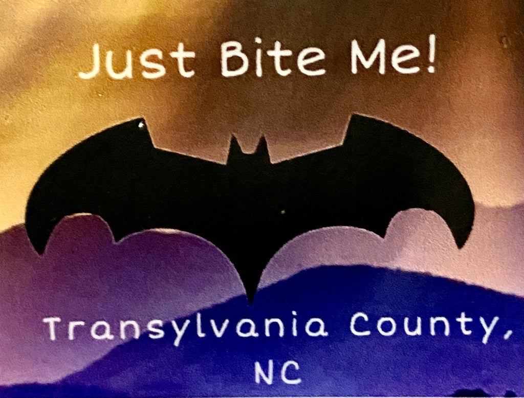 "Decal/Sticker - Vinyl - Mini - ""Just Bite Me, Transylvania County"" Black Bat Design"