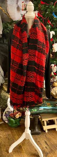 Clothing Accessory - Long Red/Black Brushed Bias Cut Scarf with Fringe Accent