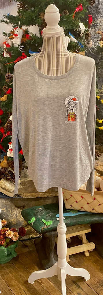Christmas T-Shirt - For Adult Ladies  -  Long Sleeve Round Neck with Santa White Squirrel on left chest