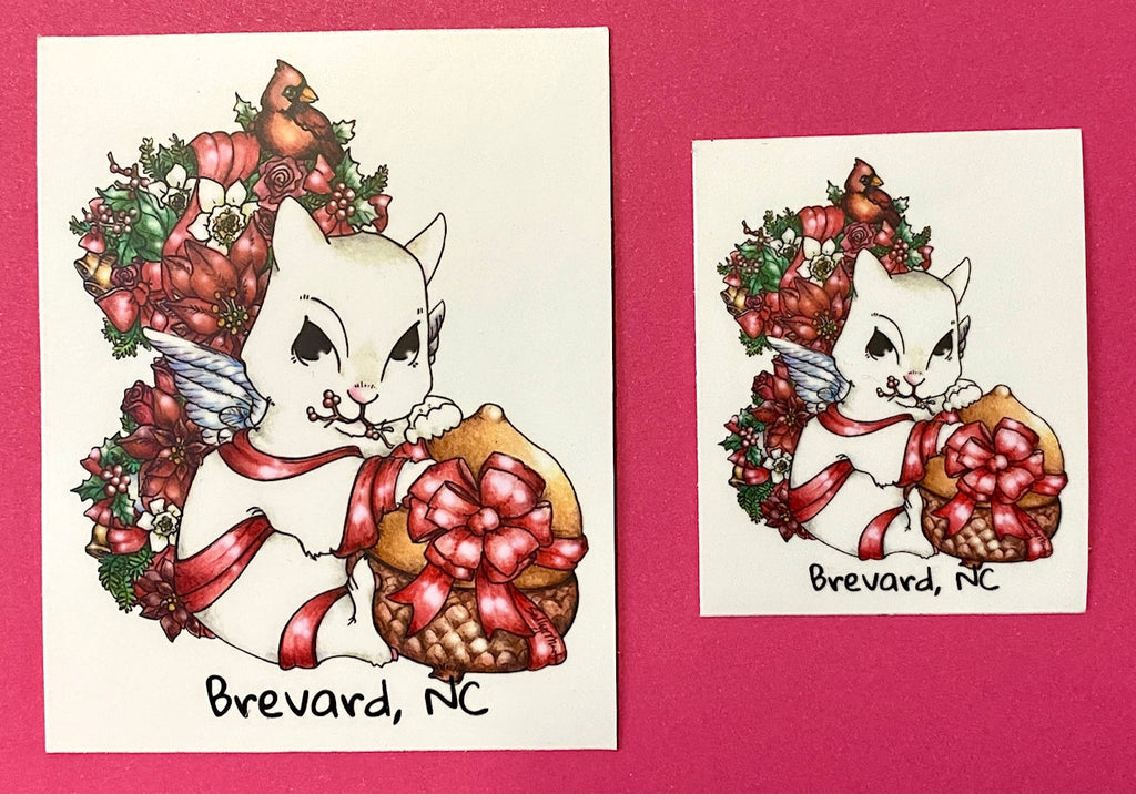 Decal/Sticker - White Squirrel with Fall Flower Tail