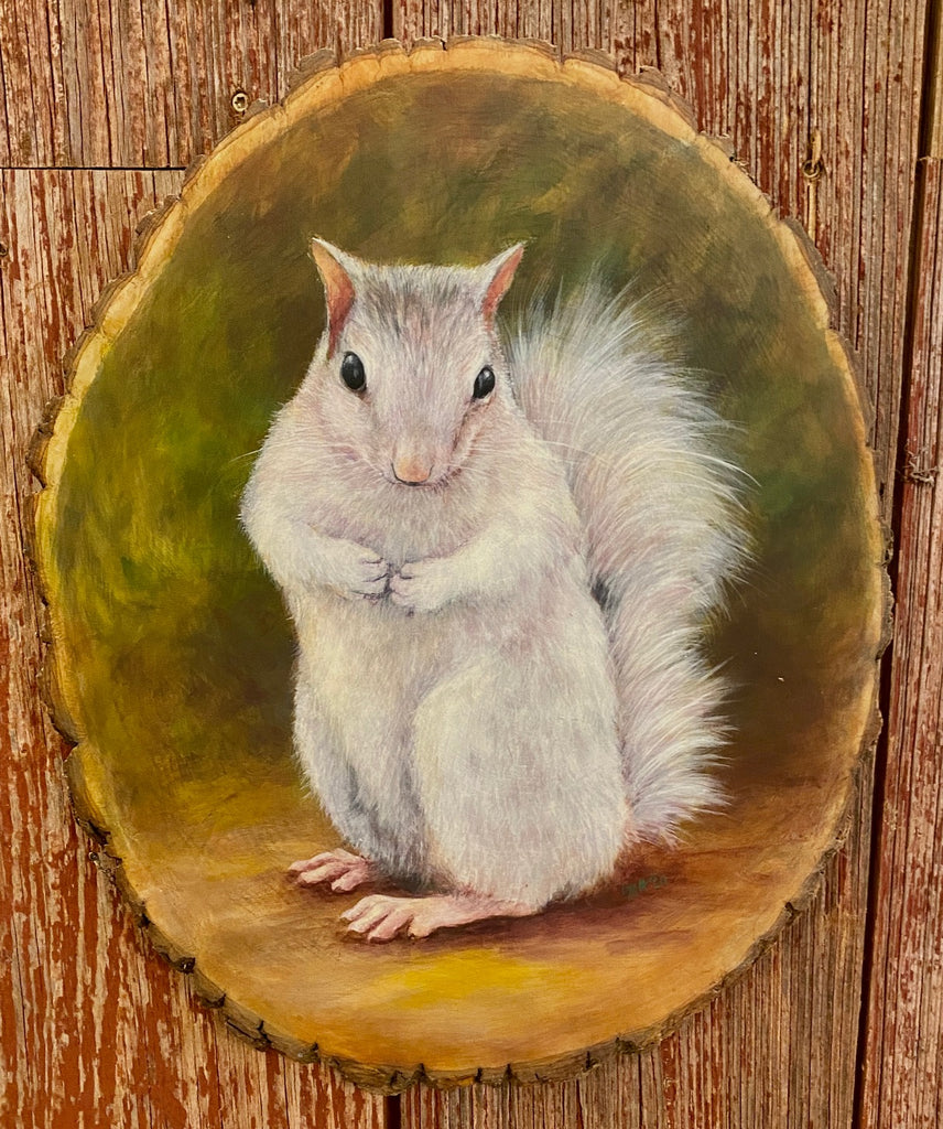 Original Painting - White Squirrel on a Log Slice by Lydia Steeves