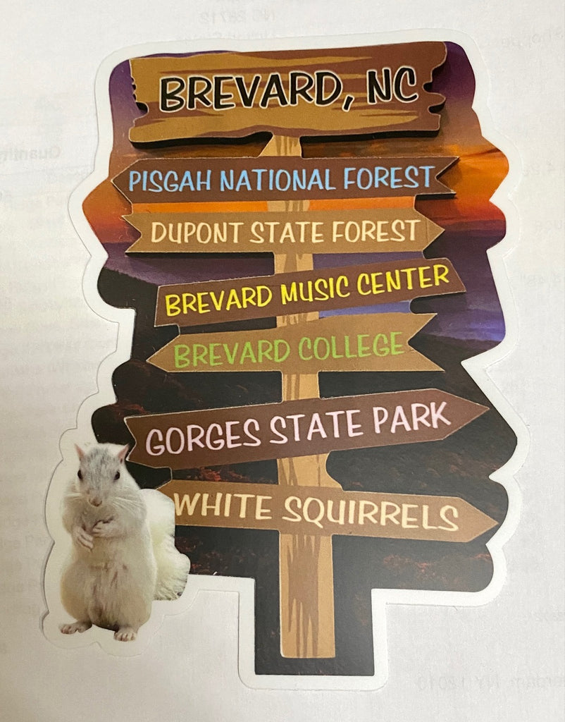 Decal - Signpost of Brevard Hot Spots with a Little White Squirrel