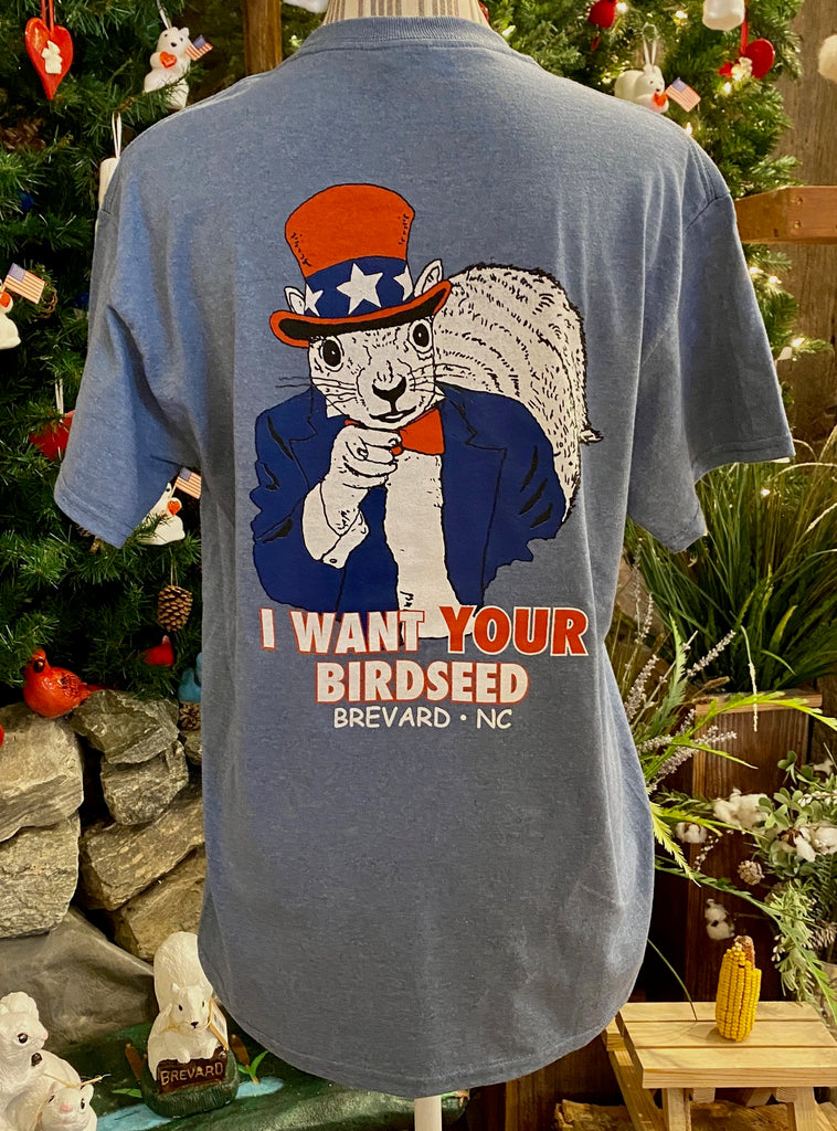 T- Shirts - For Adults - Short Sleeve, Crew Neck with Uncle Sam Squirrel