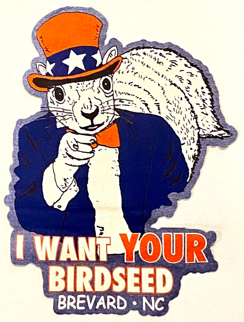 "Magnet - Uncle Sam White Squirrel ""I Want YOUR Birdseed"" for Fridge or Car"