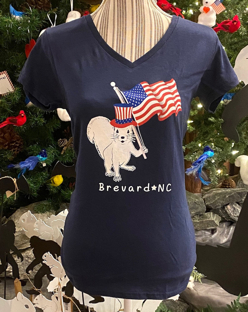 T-Shirt - For Adult Ladies - Navy Blue V-Neck with Patriotic White Squirrel