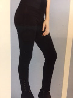 Clothing -Ponte Straight Pant Leggings with Buttons in Black