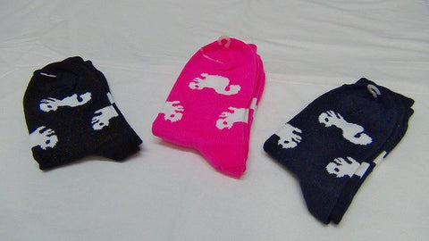 Clothing Accessories - Socks - White Squirrel Silhouettes in Navy Blue, Red, Hot Pink,Turquoise  and Black