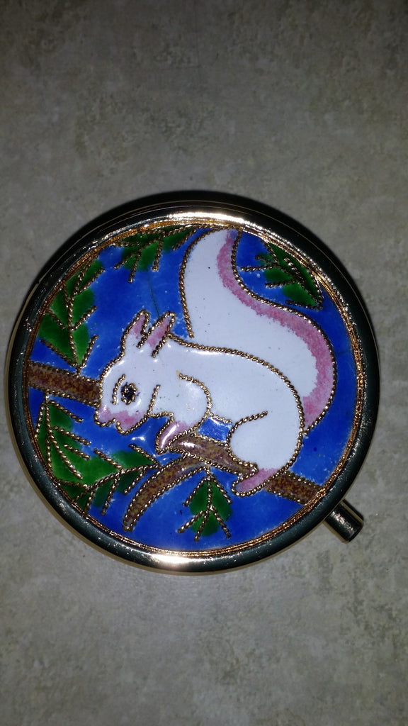Home Accessory -  White Squirrel Custom Cloisonne Pillbox - Handcrafted metal #