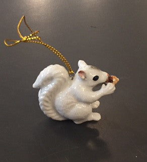 Ornament - Hand Painted Porcelain White Squirrel #