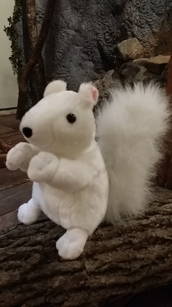 Stuffed Animal - Large Plush White Squirrel with Black Nose