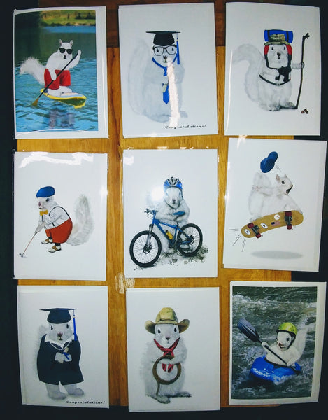 Notecards - White Squirrels in a Variety of Sports Activities by Christine Pentecost