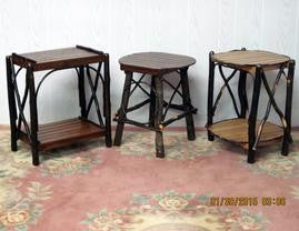 Amish Furniture- Amish  Square Two Tier Side Table with Bent Arm and Hickory - Made in Pennsylvania #
