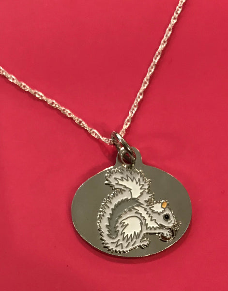 White Squirrel Pendant on Sterling Silver Chain