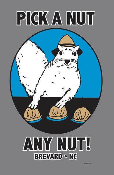 "T-Shirt - For Men - Short Sleeve - Crew Neck with wording ""Pick a Nut, Any Nut"""