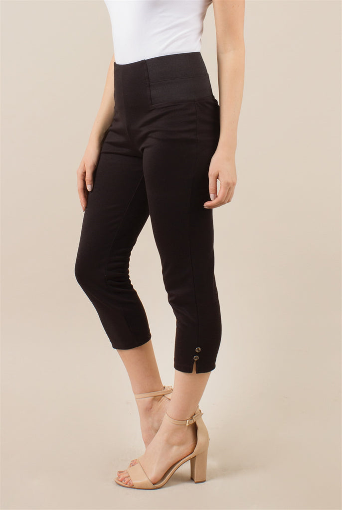 Clothing - Ponte Cropped Button Pant in Black or White