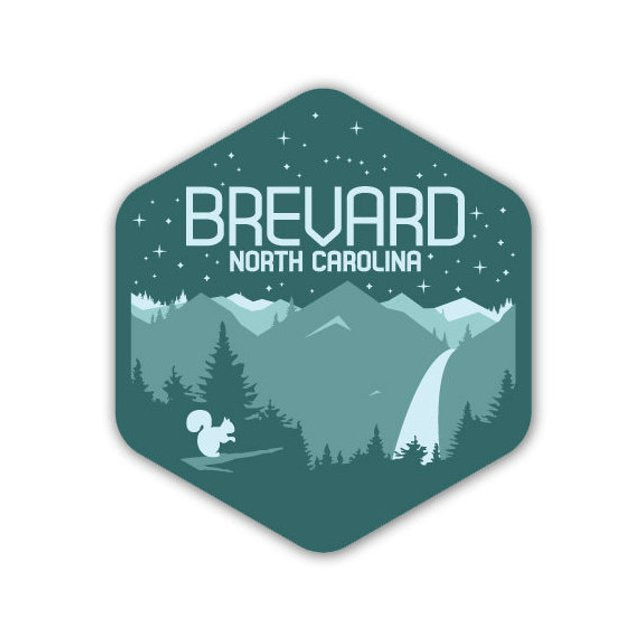 Sticker - Brevard, NC with Mountains, Stars, Waterfall and White Squirrel