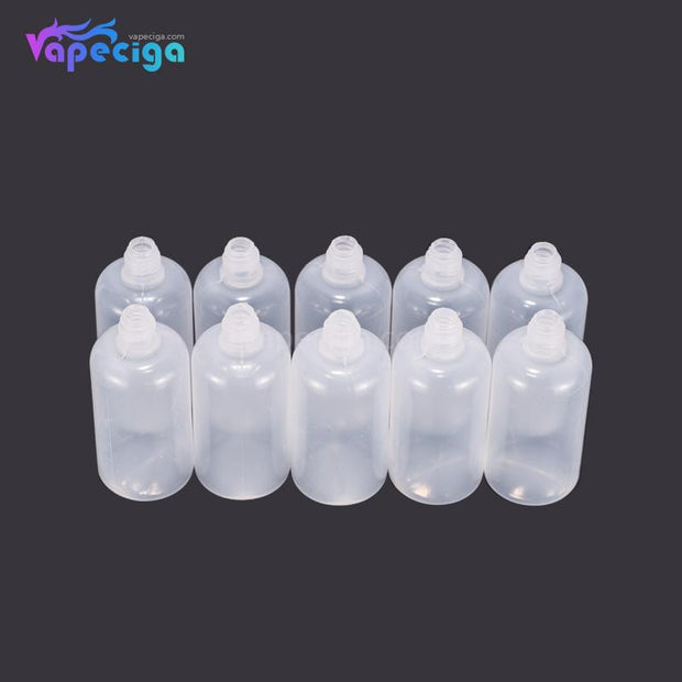 PET Semi-transparent Dropper Bottle 50ml with Black / White Needle Cap 10PCs