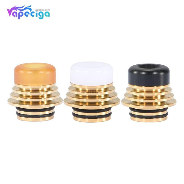 Tower Style Detachable 810 Drip Tip Stainless Steel + POM / PEI 3PCs - Gold + Yellow/Black/White