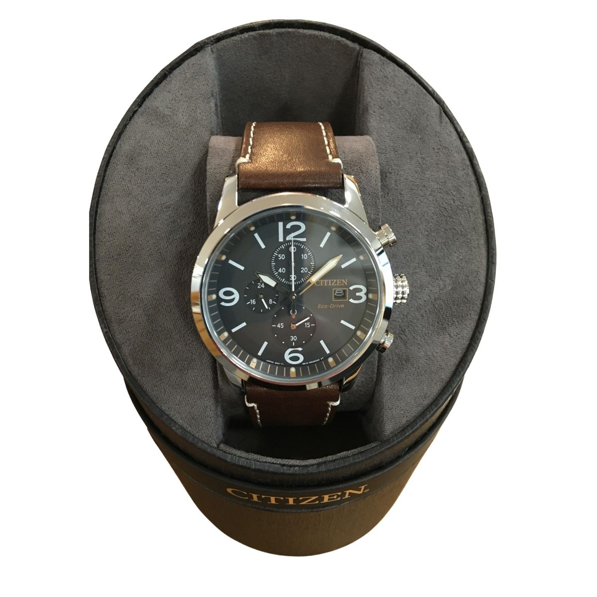 Citizen Eco-Drive Mens Watch - Chocolate Brown Strap - Cahalan Jewellers