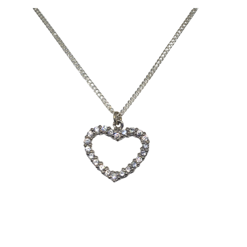 Sterling Silver Clear Stone Heart Shaped Pendant - Cahalan Jewellers