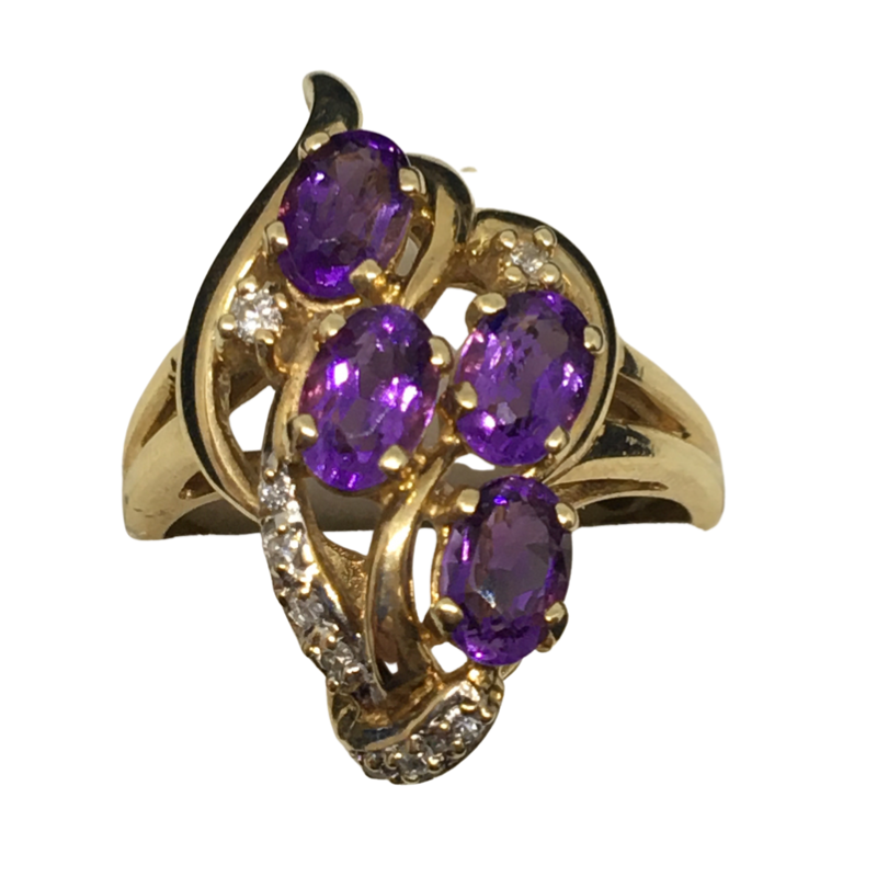 Gold Amethyst and Diamond Ring