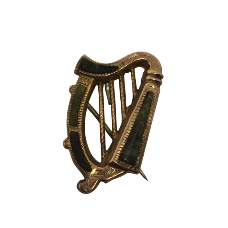 Gold Harp Brooch with Marble