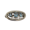 Silver Brooch with Aqua Stones
