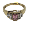 Gold Ring with Pink & Clear Stones